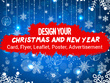 Design Christmas or New Year Cards, flyer, leaflet, poster, advertisement, FB covers