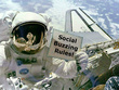Place your message or logo on a sign held by an astronaut - out of space marketing!