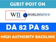 Write an article and guest Post on World News (WN.com) DA 82 website.