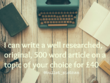 Write a well researched original 500 word article on a topic of your choice