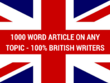 Write 1000 Word Researched SEO Optimised Article on Any Subject