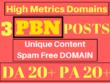 Do Spam Free 3 PBN Posts High Metrics Domains Unique Content
