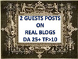 Publish 2 Guest Posts on Real Blogs (Manually Outreached), DA 25+, TF>10