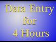 Provide Data Entry for 4 hours