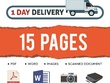 Type 15 pages of Scanned,PDF,Image docs into Word 1 Day Delivery