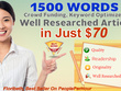 Provide 1500 Words Keyword Optimized & Well Researched Article