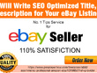 Write SEO Optimised Titel, Description for Your eBay Listing