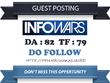 Write & publish Do Follow Guest Post On Infowars.com DA 82 Link