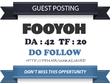 Write & publish Do Follow Guest Post On Fooyoh.com - DA 66 Link