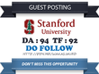 Write & Publish a guest post on Stanford.edu DA 94 TF 92