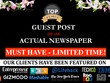 MUST HAVE - Publish A Guest Post On An Actual Newspaper DA=65