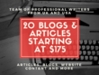Write 20 reader-oriented SEO articles/blogs of 500 words each