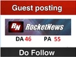 Publish your news guest post on rocketnews.com DA 46 PA 55