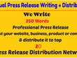 Write press release and distribute it to top 20 PR networks