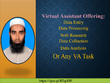Offer 1 hour of web research, data entry, any VA task