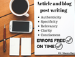 Write excellent article and blog post for you