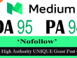"Write and publish UNIQUE Guest Post on ""MEDIUM"" DA-95"
