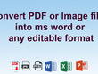 Convert PDF or Image file into ms word or any editable format
