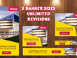 Design Google Display Ads banners set with unlimited revision