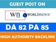 Publish Guest Post on WN.COM - WN - DA 82, PA 86