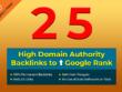 Create 25 High DA Backlinks to Improve Google ranking