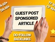 10 Real Guest Post  DA 25- 60+ High PR Dofollow Backlink(No PBN)