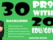 30 PR9 Backlinks and 20. Edu/. Gov Backlinks
