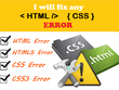 Fix HTML, CSS, JavaScript/jQuery bugs/errors