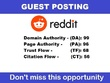 Get you High Quality backlinks on REDDIT DA 99 and PA 96