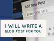 Write one unique 750 word blog post or article