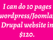 Do 10 pages wordpress, Joomla, Drupal website in $120.