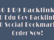 Create 40 pr9 with 20 edu gov backlinks plus 20 bookmarks