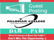 Publish Guest Post on Palomar College. Palomar.edu - DA 75