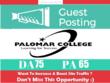 Publish Guest Post on Palomar College. Palomar.edu - DA 75