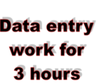 Do data entry for 3 hours.