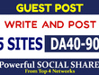 Place 5 Guest Post on High DA40-90, TF20 sites + SOCIAL SHARE