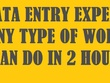 Do data entry for you in only 2 hour