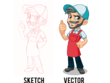 Vectorize your sketch into my vector style