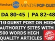 Guest post on Minds, Merchantcircle & Format DA 45 -82