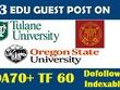 Write and post on 3 HQ EDU DA70+ Dofollow Indexable Blog