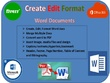 500 words expertly Format,Edit And Redesign Ms Document For You