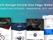 Design KILLER One Page Website   Unique design, Responsive, SEO