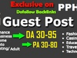 Place 15 unique guest blog posts on HIGH DA50 - DA94 websites