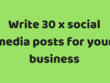 Write 30 x social media posts for your business