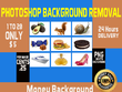 Photoshop Editing Background Removal of  100 Images in 24 hours