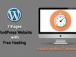 7 page WordPress website with fast loading and free hosting
