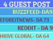 4 Guest Posts on beforeitsnews, Buzzfeed, Reddit, Thrive Global