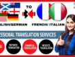 Translate English to German, French and Italian (1500 Words)