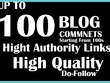 Manually do 100 blog comments page rank PR7 to 2 best results