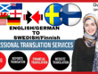Translate English to German, Swedish and Finnish (1500 Words)